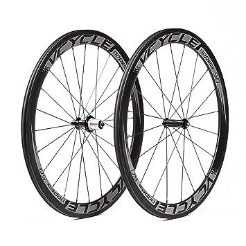 VCYCLE Nopea 700C Carreras de Carretera de Carbono Bicicleta Ruedas 50mm Remachador Recto Shimano o Sram 8/9/10/11 Velocidad: Amazon.es: Deportes y aire ...