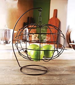 "Circleware Cage Apple Shaped Hanging Fruit Basket Holder Home and Kitchen Utensils Countertop Organizer Display for Produce, Vegetables and Snacks, 12.99"" x 12.99"" x 16.14"", Black Finish"