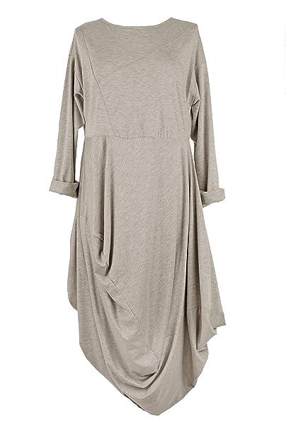 bc0d0cbe78 TEXTURE Ladies Women Italian Lagenlook Long Sleeves Drape Cocoon Viscose  Jersey Tulip Midi Dress One Size (Beige