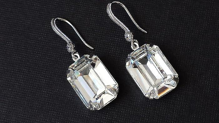 c77c212b9 Amazon.com: Swarovski Clear Crystal Earrings Wedding Bridal Silver Drop  Jewelry with Fancy Ear Wires: Handmade