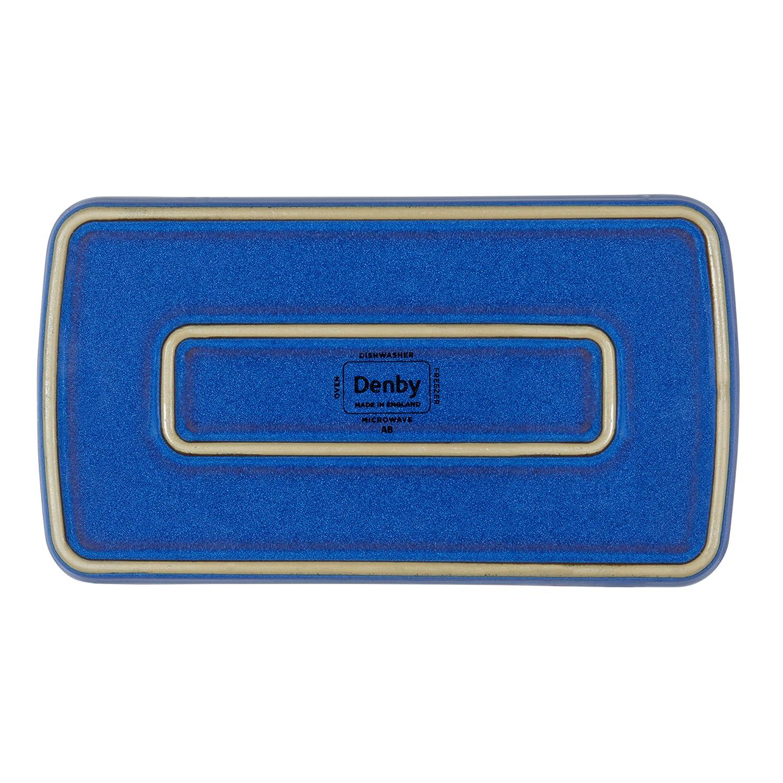 Stoneware 2-Pound Denby Imperial Blue Rectangular Plate