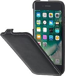 StilGut UltraSlim, Housse iPhone 8 en Cuir élégant. Etui de Protection Apple iPhone 8 à Ouverture Verticale et Fermeture clipsée en Cuir véritable