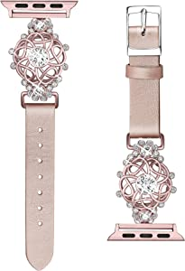 Secbolt Bling Flower Band Compatible with Apple Watch Bands 38mm 40mm iWatch Series 6/SE/5/4/3/2/1, Top Grain Leather with Rhinestones Wristband Strap Jewelry Accessories for Women (Rose Gold, Small)