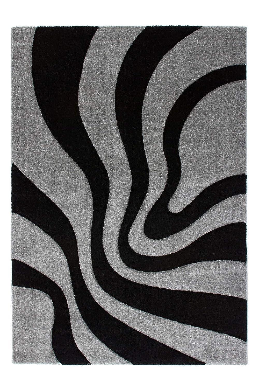 Lalee  347118373  Moderner Designer Teppich   Muster   Ranke   Konturenschnitt   Schwarz Silber   Grösse   160 x 230 cm