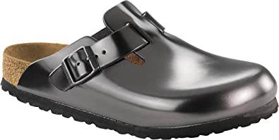 76479044044f Image Unavailable. Image not available for. Color  Birkenstock Women s  Boston Soft Footbed Anthracite Leather Clogs 38 N ...