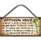 Gigglewick Gifts Shabby Chic Wooden Funny Sign Wall Plaque Bathroom Rules