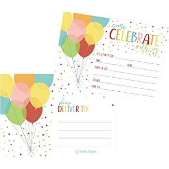 Amazon Com 25 Rainbow Balloon Party Invitations For Kids Teens