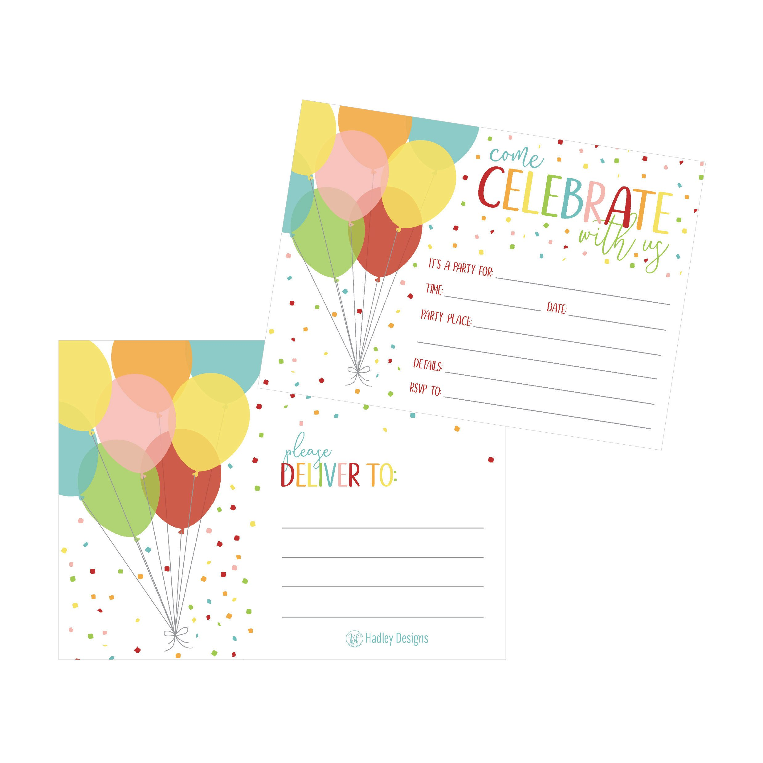 25 Rainbow Balloon Party Invitations for Kids, Teens, Adults, Boys & Girls, Blank Children Happy 1st Birthday Invitation Cards, Unique Baby First Bday Invites, Toddler 1 2 3 Year Old Invites Fill In