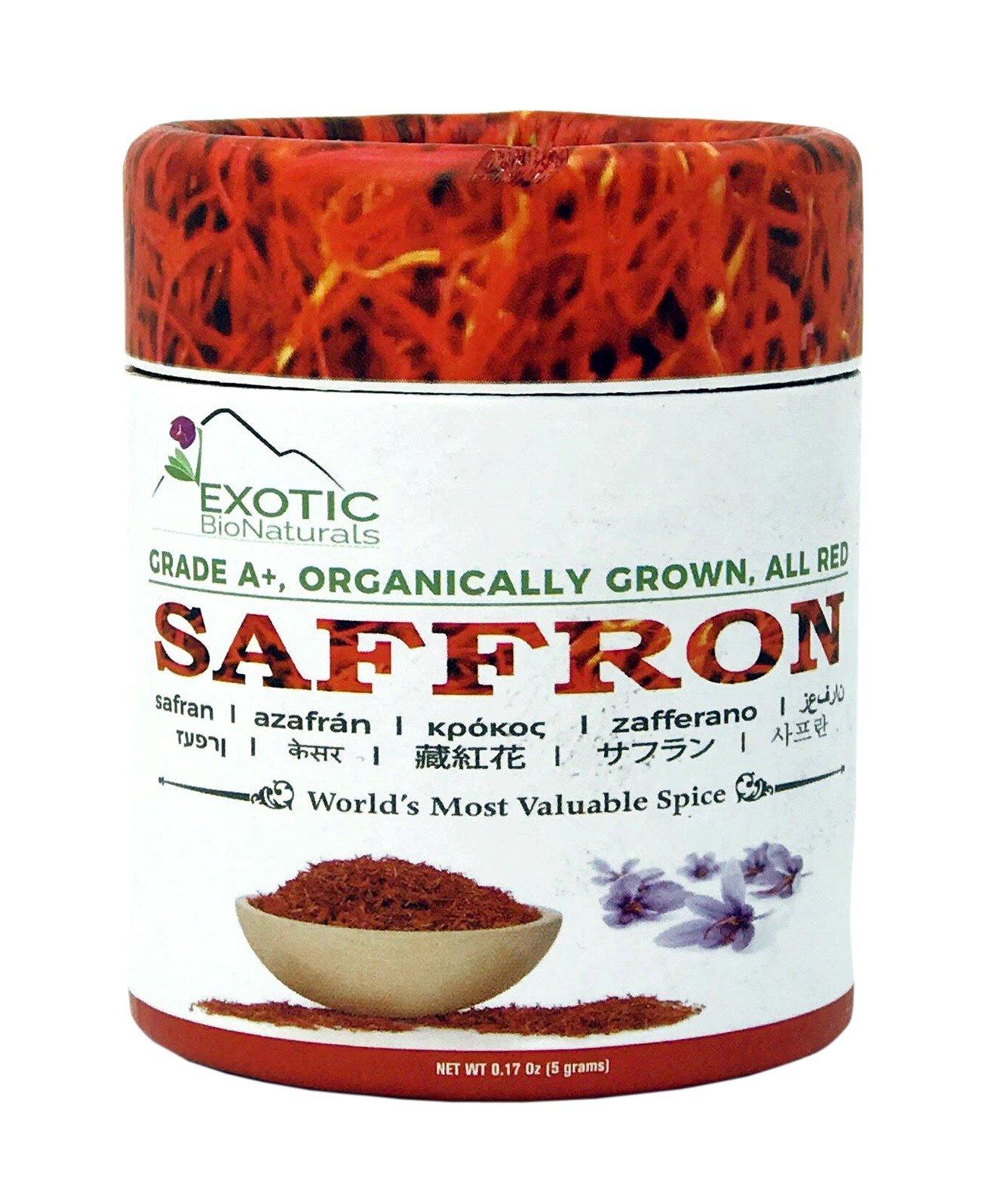 Genuine Grade A+, Premium Quality All Red, Organically Grown SUPER NEGIN Saffron (0.18 Oz -5 grams)