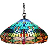 "SCARLET"" Tiffany-style Dragonfly 3 Light Hanging Pendent Fixture 24"" Shade"