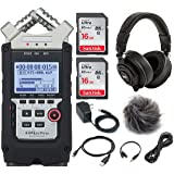Zoom H4n Pro 4-Channel Handy Recorder Portable Digital Audio Recorder - Accessory Kit and a LyxPro Headphones