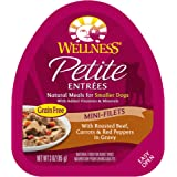 Wellness Petite Entrees Natural Grain Free Wet Small Breed Dog Food, 3-Ounce Cup (Pack Of 24) Mini Filets Beef