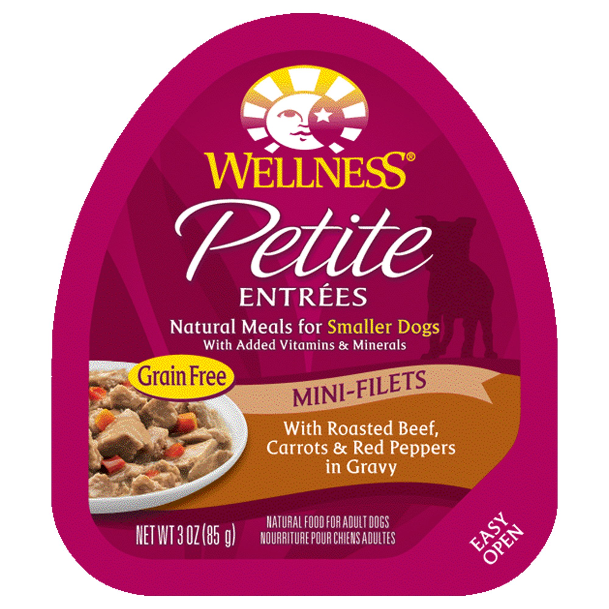 Wellness Petite Entrees Mini Filets Grain Free Natural Wet Small Breed Dog Food, Roasted Beef, 3-Ounce Cup (Pack of 24)