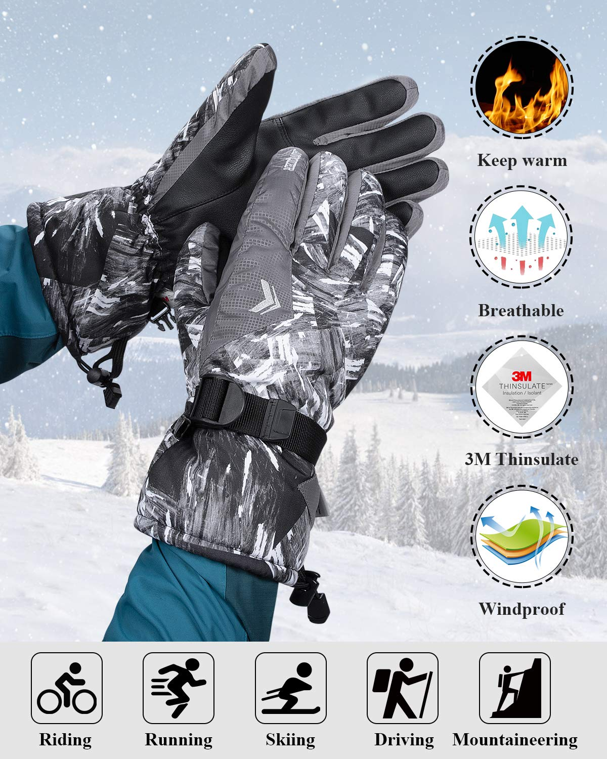 FengNiao Ski Gloves Winter Thermal Waterproof Gloves Snowboard 3M Thinsulate Snow Snowmobile Gloves for Men Women