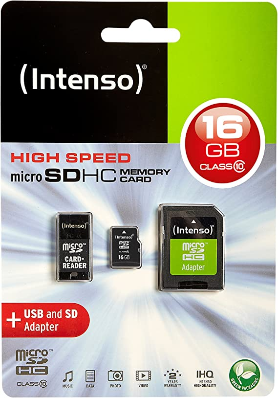 Intenso Class 10 Micro Sdhc 16gb Speicherkarte Inkl Sd Und Usb Adapter Schwarz