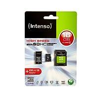 Intenso Class 10 micro SDHC 16GB Speicherkarte inkl. SD und USB Adapter schwarz
