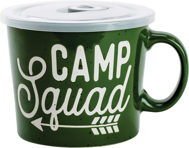 Boston Warehouse Souper Mug Food Storage Container, 24 Ounce, Camp Squad