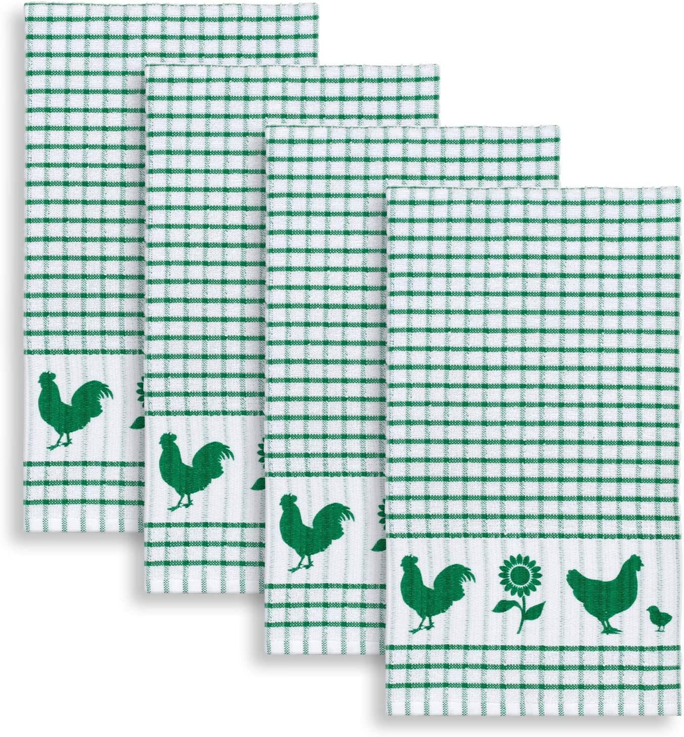 Cackleberry Home Backyard Chickens Windowpane Check Cotton Terrycloth Kitchen Towels, Set of 4 (Green)