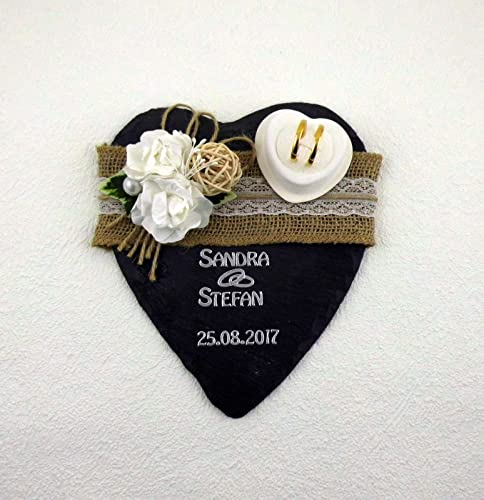 Ringkissen Schiefer mit Name und Datum Handarbeit Box für Eheringe