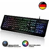KLIM Domination Mechanische Tastatur DEUTSCHE RGB QWERTZ Blaue Tasten - Schneller, präziser, angenehmer Tastenanschlag 5 Jahre Garantie Keyboard Gaming Tastatur VOLLSTÄNDIGE FREIHEIT BEI DER FARBAUSWAHL