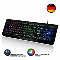 ⭐️KLIM Domination - Mechanical Keyboard QWERTZ RGB - PC PS4 - Blue Switches - Fast Typing, Precise, Comfortable - 5 Year Warranty - FULL CUSTOMISATION OF COLORS [ New Version ]