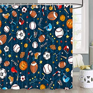 Sports Shower Curtain for Kids Children Teens, Basketball Football Baseball Hockey Star Blue Sports Bathroom Decor, Fabric Baseball Shower Curtain Hooks Include, 70 in
