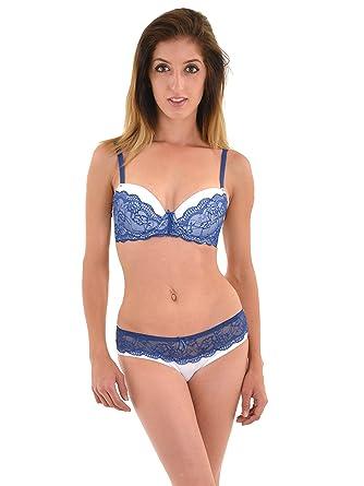 8baeb7150e4e1 Juniors White Bra Navy Blue Lace Trim Push Up Bra Hipster Panty 2 Piece Set  Bra