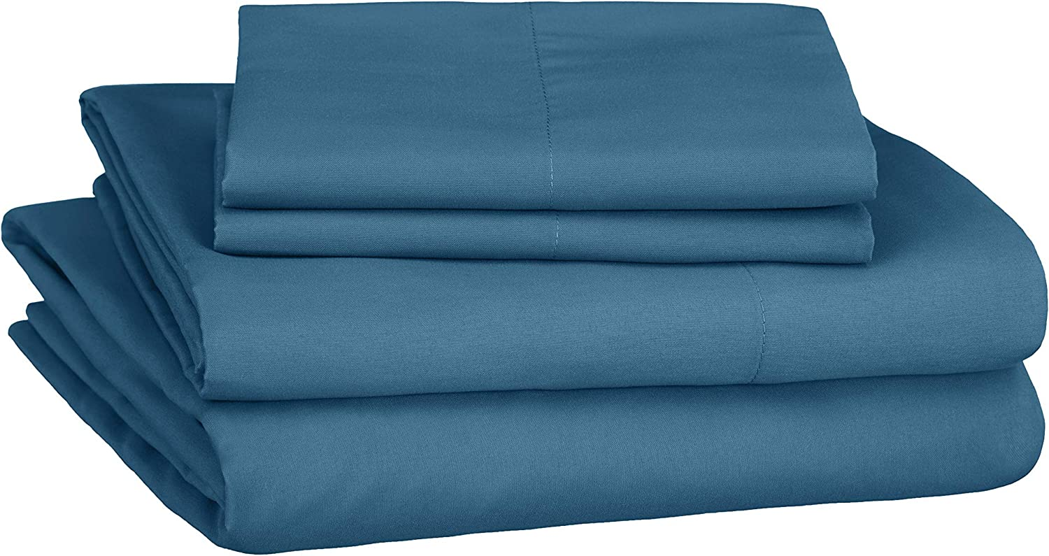 AmazonBasics Soft Microfiber Sheet Set with Elastic Pockets - Queen, Still Water