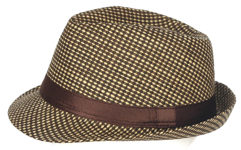 DRY77 Lattice Net Pattern Paper Straw Fedora Hats & Caps Men