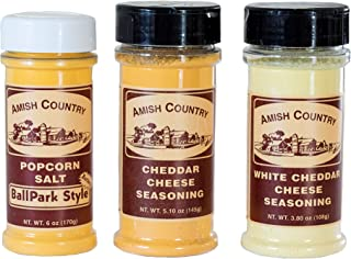 product image for Amish Country Popcorn | Seasoning Variety Pack | BallPark Style Buttersalt - 6 oz, Cheddar Cheese - 5.1 oz & White Cheddar Cheese - 3.8 oz Popcorn Seasoning | Old Fashioned with Recipe Guide