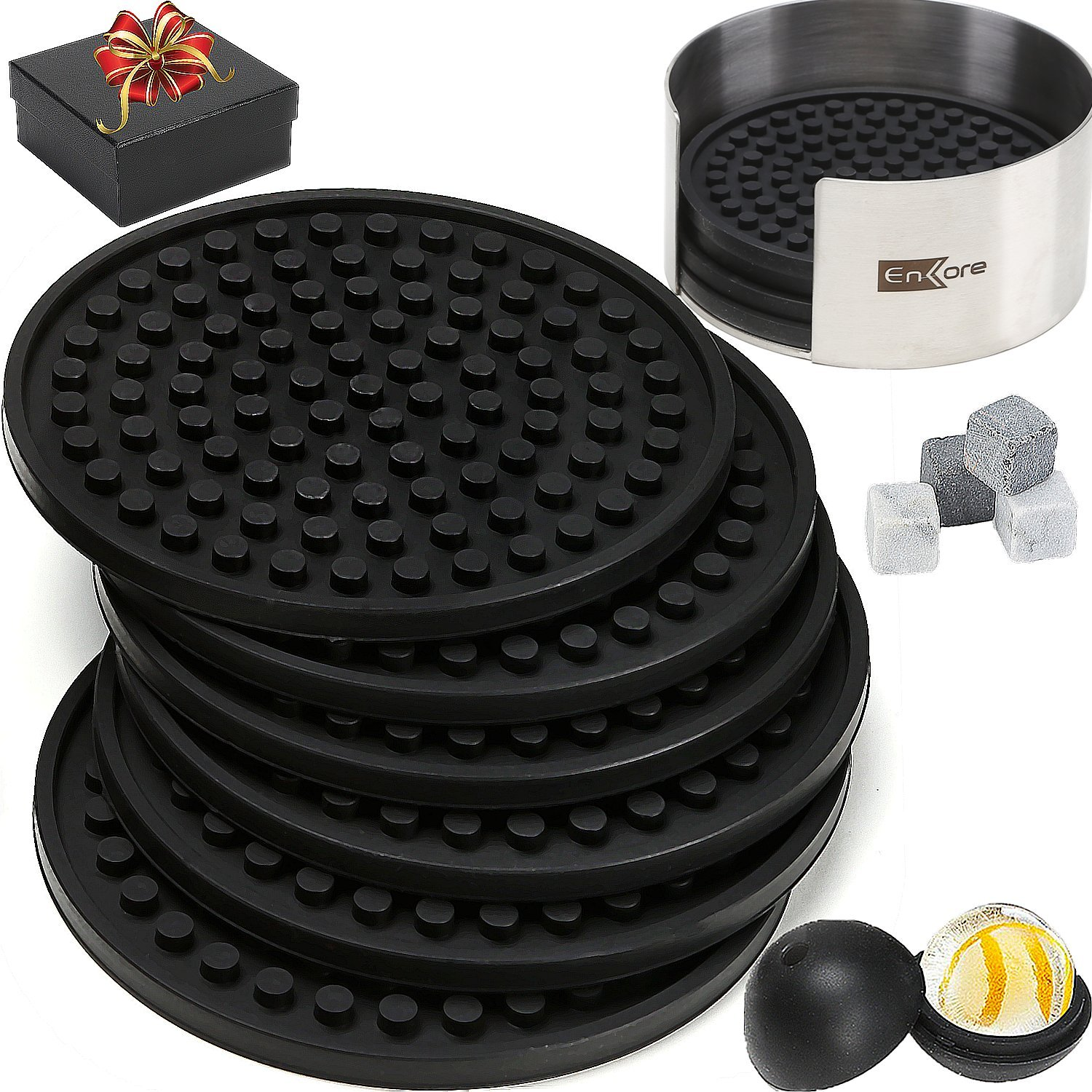 Coasters For Drinks 8 Pack In Sophisticated Stainless Steel Holder, Deluxe Bar Accessories Bonus Set With A Gift Box Contain Ice Ball Mold, 4 Whiskey Stones - Have Fun At Party And Protect Furniture by Enkore (Image #1)