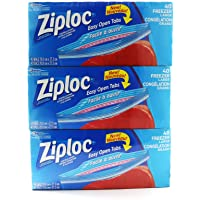 Ziploc Large Freezer Bags Easy Open Tabs Size 26.8 cm x 27.3 cm 3 Packs of 50 Net 150 Bags