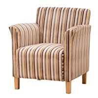 Sofa Collection Vivaldi Striped Fabric Tub Chair/Armchair Seating - Grey Or Brown Available