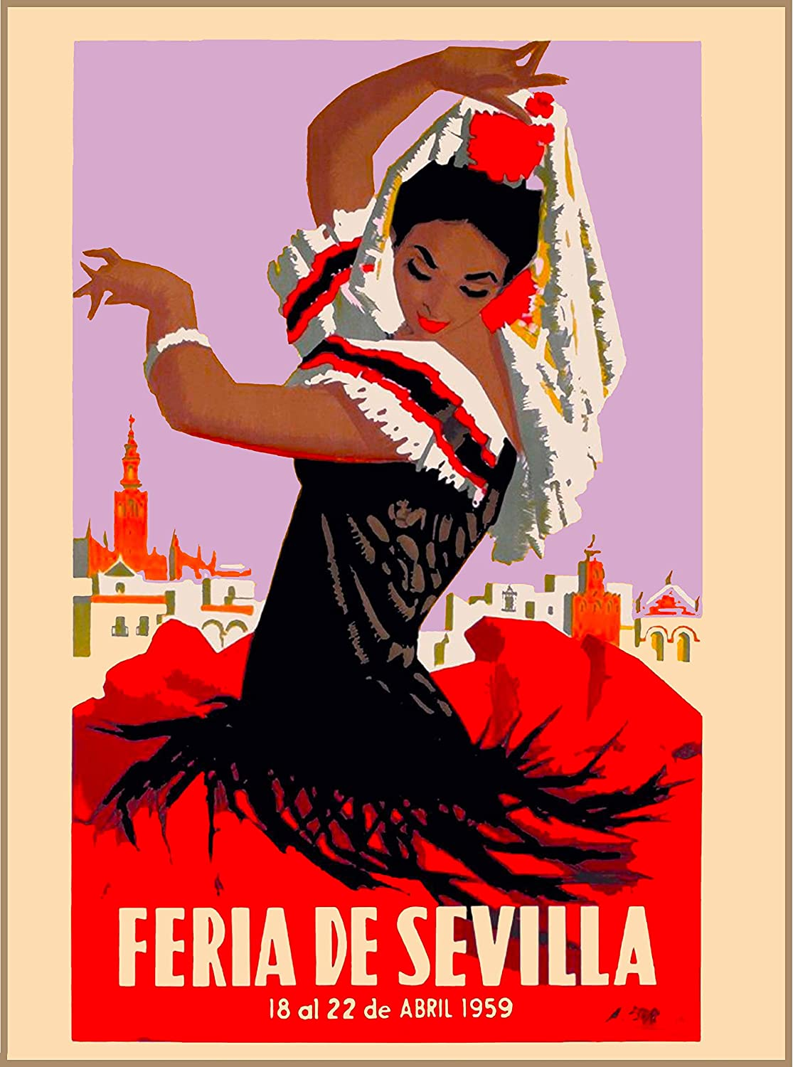 A SLICE IN TIME 1959 Feria de Sevilla Seville Spain Spanish Vintage Travel Advertisement Art Collectible Wall Decor Poster Print. Measures 10 x 13.5 inches