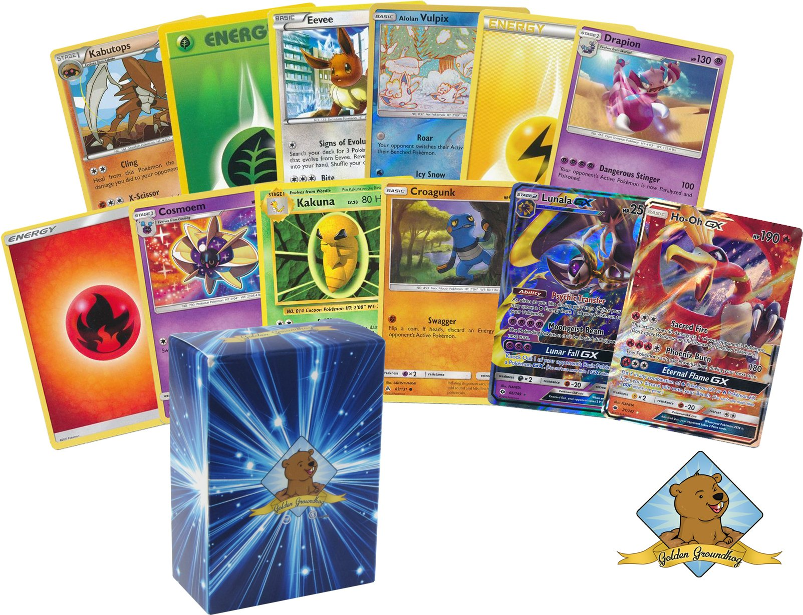 50 Pokemon Card Lot with Energy, Rares, Featuring 1 Legendary GX Cards No Duplication! Includes Golden Groundhog Box!
