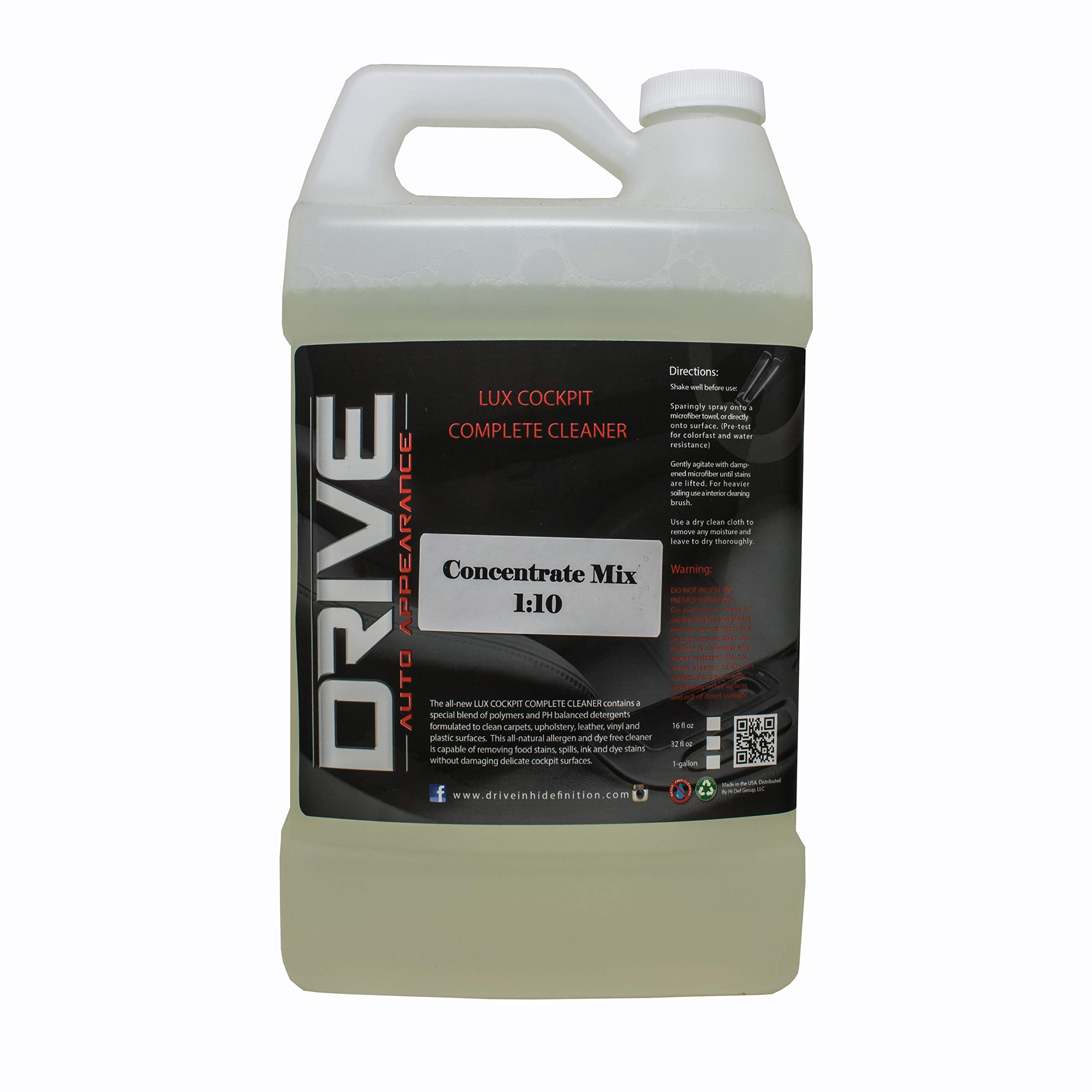 Drive Auto Appearance Lux Cockpit Complete Professional Concentrate Interior Cleaner (1 Gallon) Multipurpose, Multi-Surface, and Allergen Free. Perfect for Cars, Boats, RVs