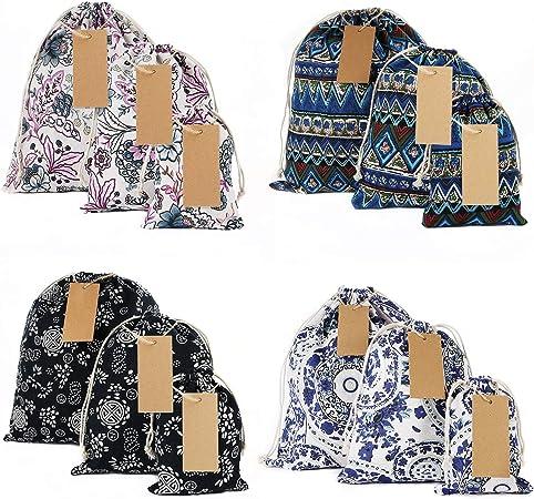 Medium Cloth Gift Bags Fabric Gift Bags Christmas Drawstring Reusable Gift Sacks Gift Bags