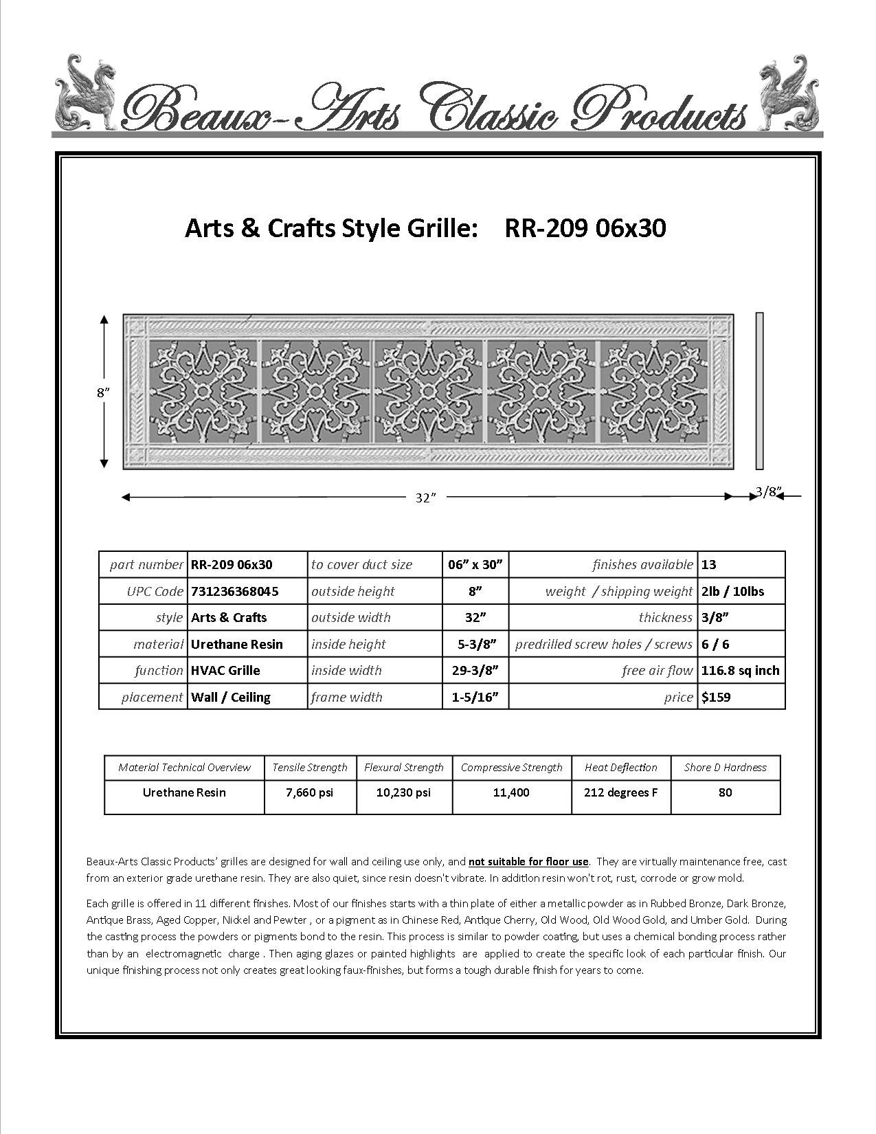 Decorative Grille, Vent Cover, or Return Register. Made of Urethane Resin to fit over a 6''x30'' duct or opening. Total size of vent is 8''x32''x3/8'', for wall and ceiling grilles (not for floor use).