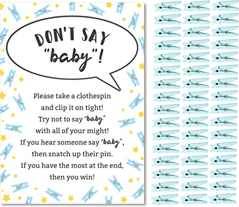 Beach Baby Shower Clothespin Game Baby Game Sign Baby Shower Decor SHEBS Don/'t Say Baby Seashell Baby Shower Baby Shower Games