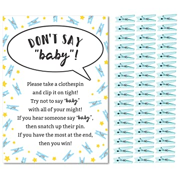 image relating to Free Don't Say Baby Printable named Dont Say Boy or girl Activity for Boys Little one Shower Clothespin Activity Involves Just one 5x7 Signal and 48 Mini Blue Clothespins