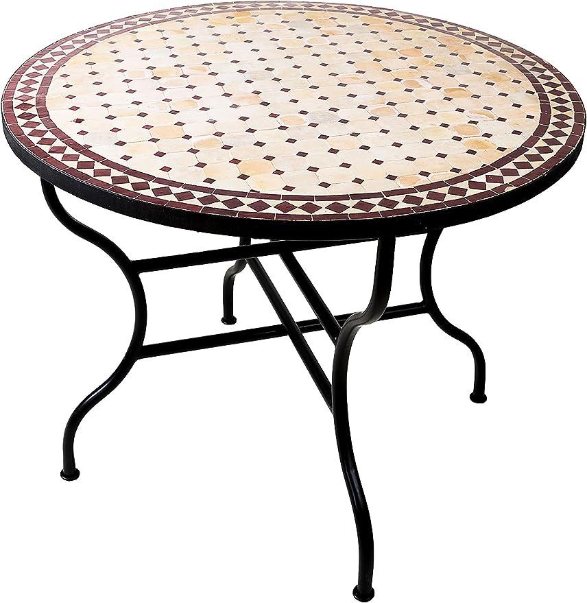 Mesa mosaico de balcón marroquí oriental mediterránea ORIGINAL - Marrakesch Natural/Burdeos - mesa de cocina mesa de azulejos mesa de comedor mesa de jardín mesa de terraza: Amazon.es: Hogar