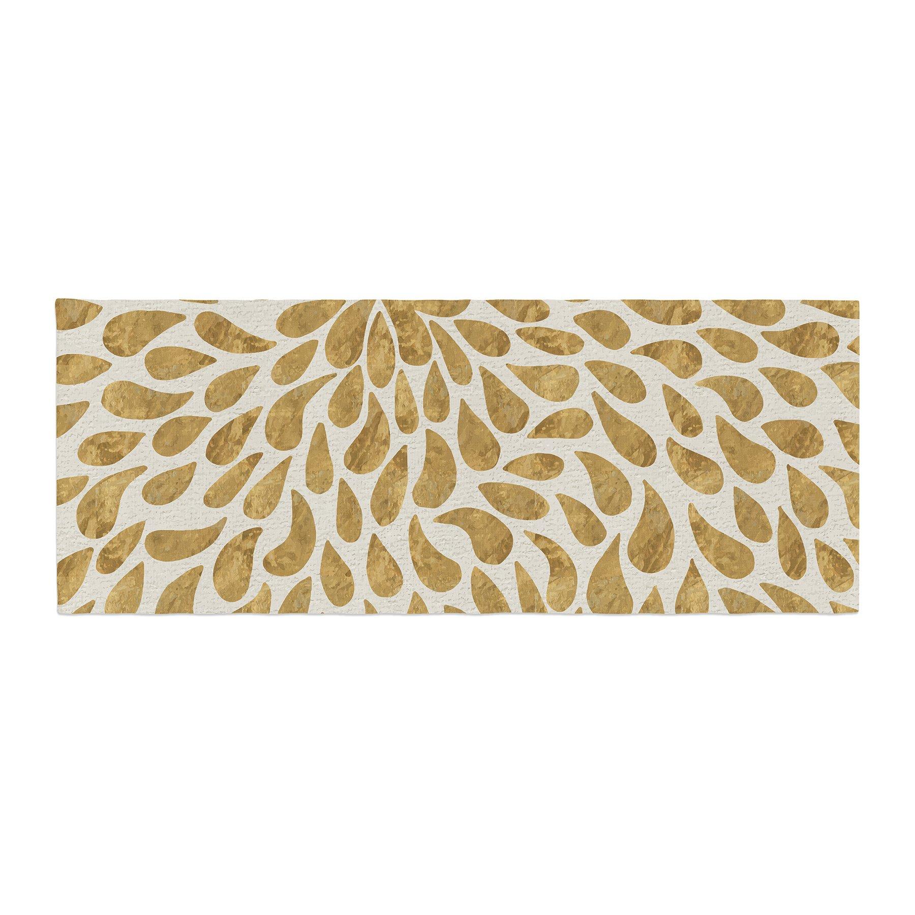 Kess InHouse 888 Design Abstract Golden Flower Gold Tan Bed Runner, 34'' x 86''