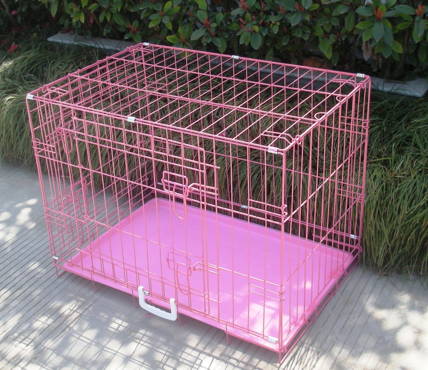amazoncom  bestpet new pink pet folding suitcase dog cat crate  - amazoncom  bestpet new pink pet folding suitcase dog cat crate cage kennelpen with abs tray inch  kennel for cats  pet supplies
