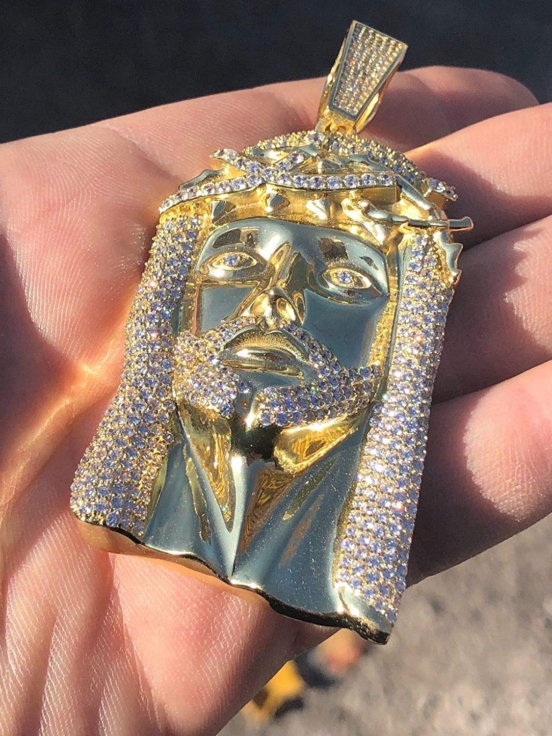 Huge 3 Solid 925 Sterling Silver Iced Out Jesus Piece Pendant Mens Large Hip HOP Style Great for Any Chain