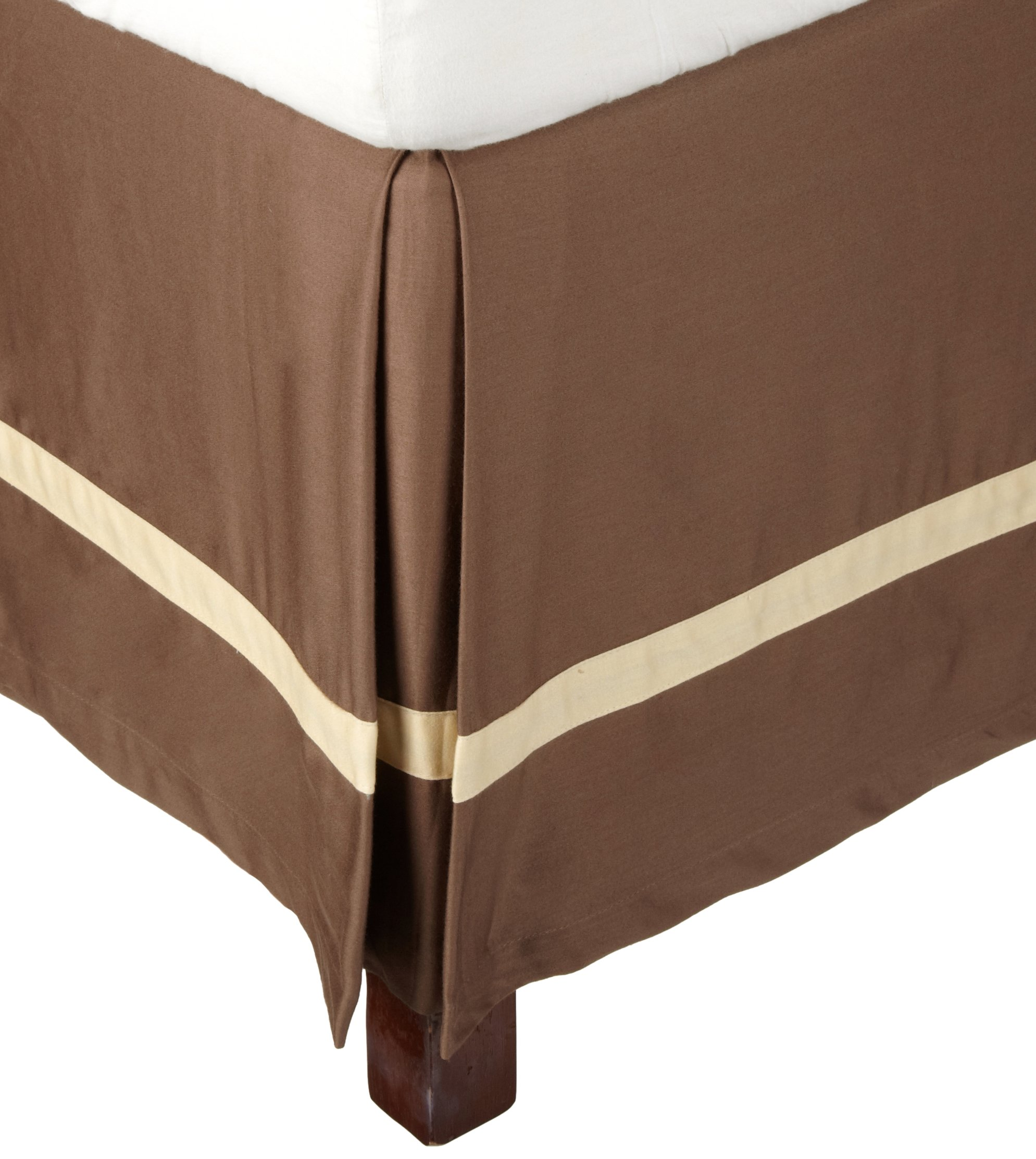 Superior 300 Thread Count 100% Cotton, Hotel Collection, 15 Inch Drop,  Queen Bed Skirt, Mocha with Honey
