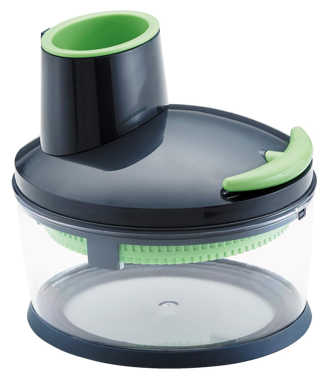 Kuhn Rikon 27415 Easy Cut Multi-Purpose Hand-powered Food Processor, 4 Cup, Black/Green