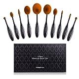 Kit de Brochas de Maquillaje Profesionales de 10 Piezas - Incluye Brochas de Contouring, Base, Corrector, Labios, Delineador de Ojos y Colorete