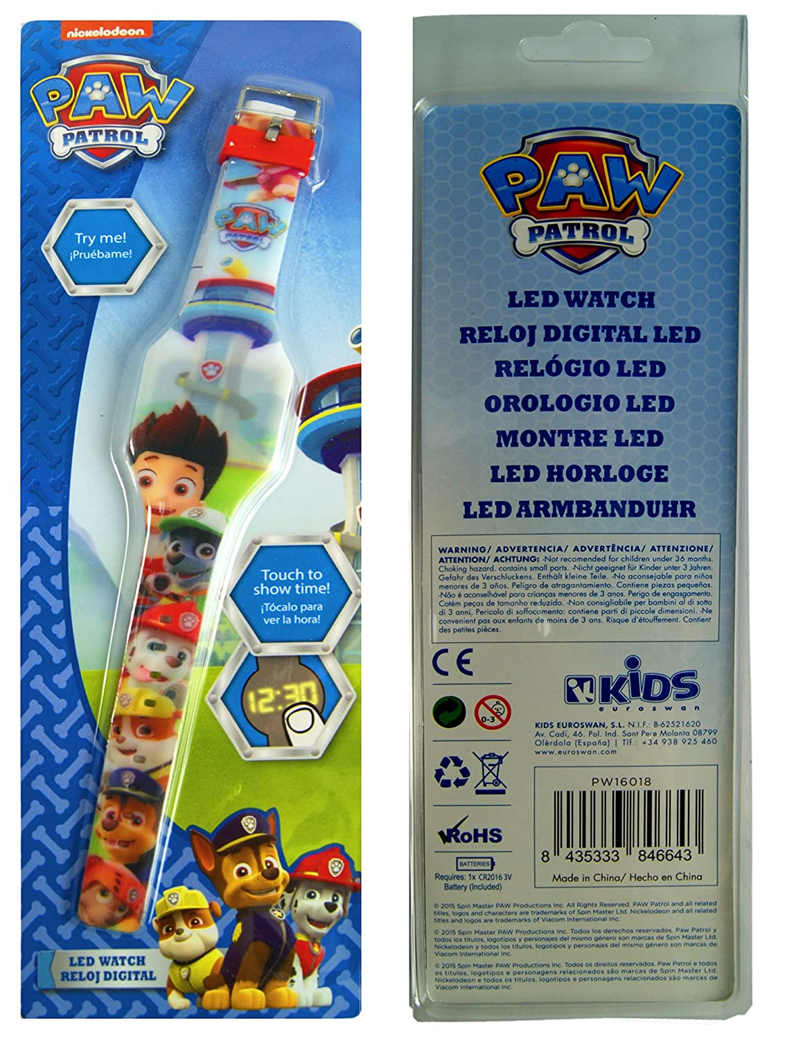 Amazon.com: Paw Patrol LED Digital Watch,,Touch To Show Time,, Official Licensed .: Toys & Games