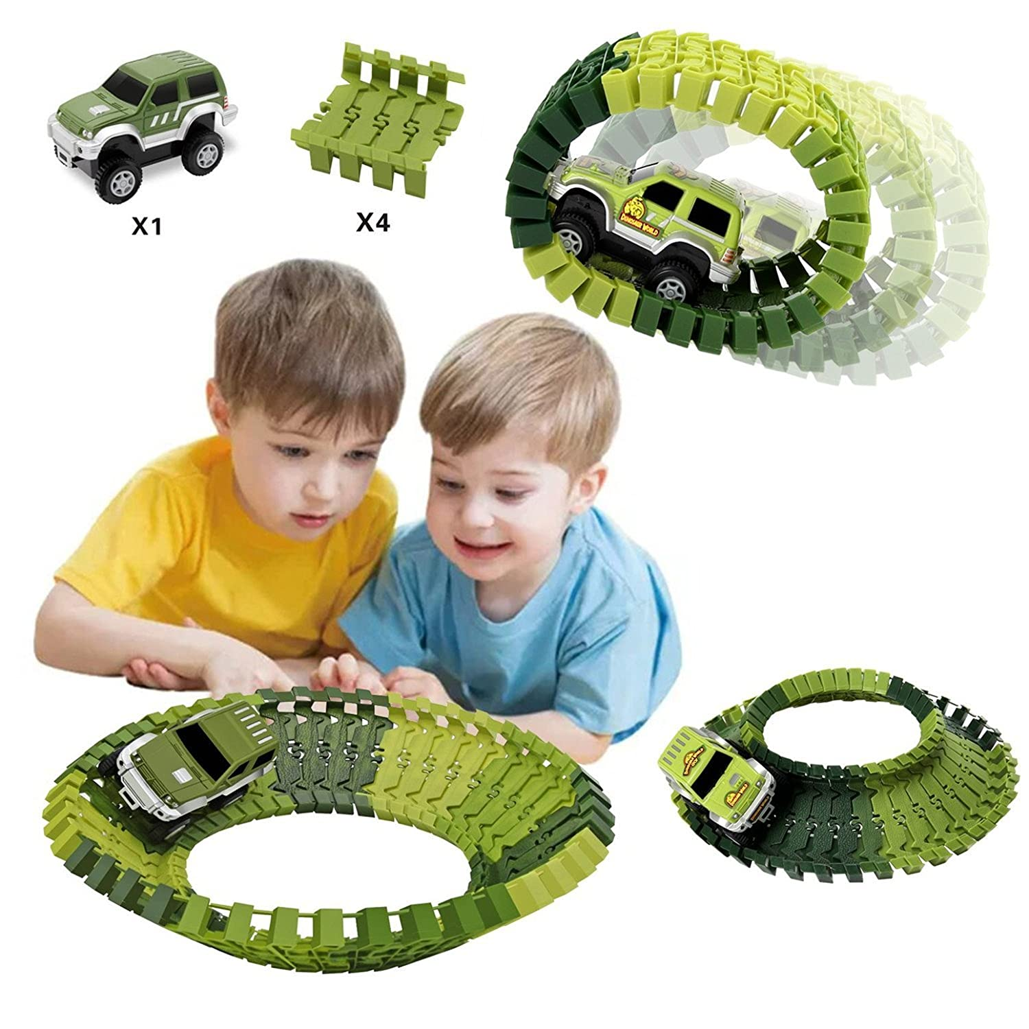 HOMOFY Dinosaur Toys Slot Car Race Sets Jurassic World with 142 Pieces Flexible Tracks 2 1 Military Vehicles,4 Trees,2 Slopes,1 Double-Door and 1 Hanging Bridge for Children