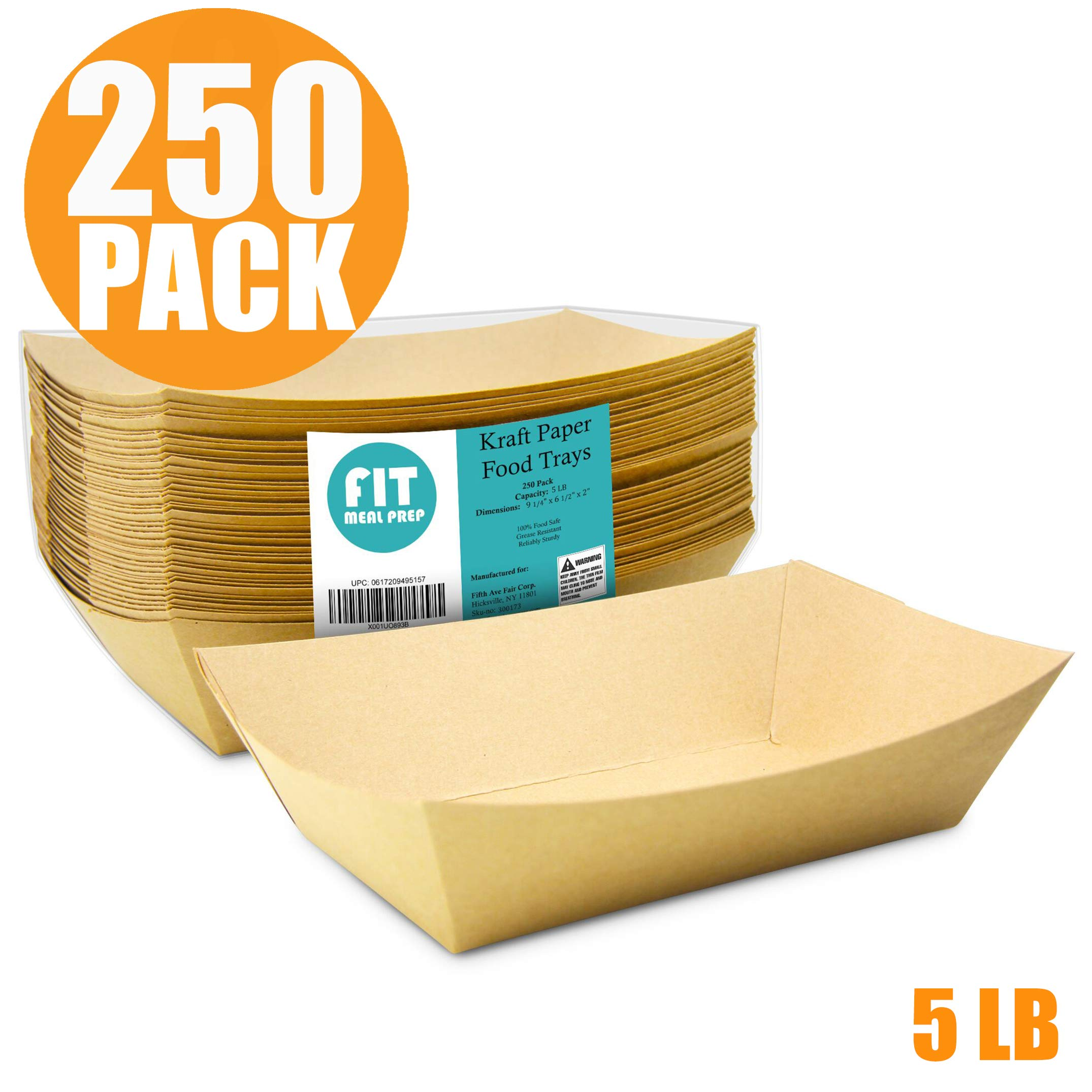 [250 Pack] 5 lb Heavy Duty Disposable Kraft Brown Paper Food Trays Grease Resistant Fast Food Paperboard Boat Basket for Parties Fairs Picnics Carnivals, Holds Tacos Nachos Fries Hot Corn Dogs by Fit Meal Prep (Image #2)